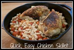 Roasted Chicken Skillet with Tomatoes and White Beans. One pan healthy meal! Quick and easy recipe.