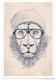 Cool lion en Tirage d'art premium - site internet www.juniqe.fr
