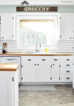 Love this beautiful Farmhouse Cottage Kitchen. Shaker style cabinets, butcher block counter tops, and cast iron sink. All done on a budget!...