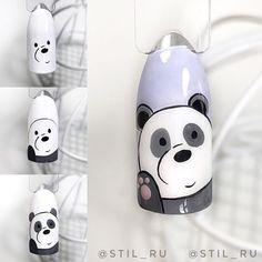 Cartoon Nail Designs, Nail Art Designs Videos, Nail Art Videos, Cute Nail Art, Nail Art Diy, Beautiful Nail Art, Panda Nail Art, Animal Nail Art, Diy Ongles