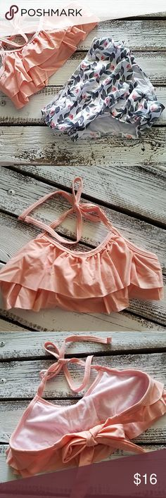 c2b65d76af 2 piece swim suit 2 piece swim suit peach top with print bottom polyester  spandex Bailey s Blossoms Swim Bikinis