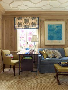 From the Portfolio of Cullman & Kravis: Floridian Exuberance. Cottage Curtains, Interior Design Classes, Custom Drapes, Curtain Designs, Furniture Layout, Furniture Plans, Elegant Homes, Ceiling Design, Ceiling Detail