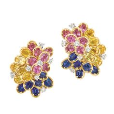 Pair of Gold, Platinum, Multicolored Sapphire and Diamond Cluster Earclips, Oscar Heyman Bros.