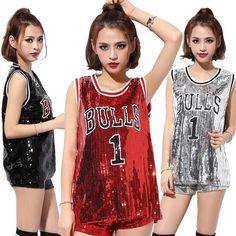 Drop Shipping Summer High Quality Fashion Hip Hop Bling Sequin T shirt Dress Long Women BULLS1 Print Sequined T Shirt For Dance