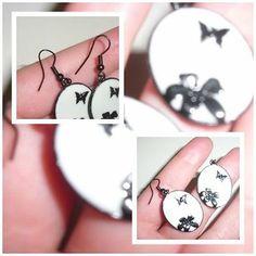 Damen #Ohrringe - #Modeschmuck Hängerchen/Weiß/Schwarz/Blüte/Schmetterling | #eBay