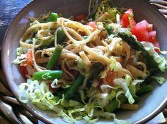 Dinner: prepared macro udon noodles via @FreshDirect + fresh, steamed asparagus & romaine shreds & diced tomato. YUM!