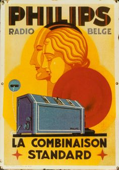 Philips radio on an enamel billboard from the 1920s | #retro #vintage