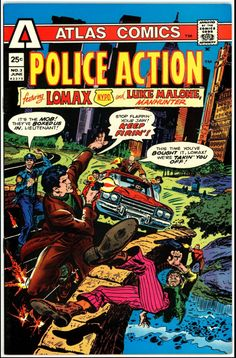 Tough cop Sam Lomax tracks down a cop-killer in Central Park. Also, private eye Luke Malone is hired for concert security and discovers a plot to rob the box office. Part of the short-lived Atlas line from former Marvel publisher Martin Goodman. Final issue of the series. Written by Gary Friedrich, with art by Mike Sekowsky, Al McWilliams, Mike Ploog and Frank Springer. Old Comics, Marvel Comics, Comic Book Artists, Comic Books, Crime Comics, Private Eye, Classic Comics, Comic Book Covers, Comic Character