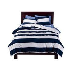 Room Essentials Striped Duvet Set - Boy's bedding for nautical room Comforter Cover, Duvet Bedding, Duvet Sets, Duvet Cover Sets, Chic Bedding, Blue Duvet, Striped Bedding, White Duvet, Target Bedding