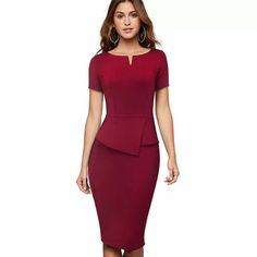 Classy Business Outfits, Business Dresses, Work Dresses For Women, Clothes For Women, Peplum Dress, Bodycon Dress, Casual Party Dresses, Evening Dresses For Weddings, Professional Dresses