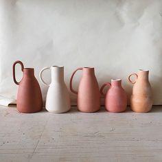 "kindofluxe: "" birdasaurus: "" Helen Levi "" xx "" blush and terracota shades pottery Ceramic Pottery, Ceramic Art, Ceramic Jugs, Ceramic Studio, Pottery Art, Keramik Design, Terracota, Color Inspiration, Kitchen Inspiration"