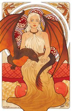 "Mucha style - "" #TheMotherOfDragons"" "" #DaenerysTargaryen"" "" #GameOfThrones"" Illustration in style of ""Alphonse Mucha"""