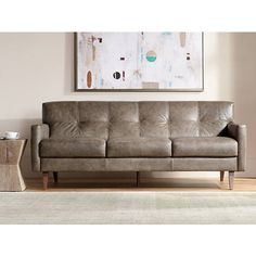 "Digio 85"" Wide Fiji Taupe Italian Leather Sofa"