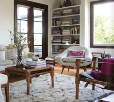Erica Tanov living room with Beni Ouarain rug. Photograph Kelly Ishikawa for Anthology magazine