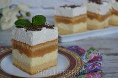 Ciasto z jabłkami, budyniem i bitą śmietaną Vanilla Cake, Tiramisu, Recipies, Cheesecake, Cooking Recipes, Pudding, Cupcakes, Sweets, Bread