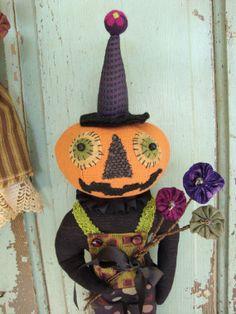 Halloween Folk Art Pumpkin Head Doll  Silly Pierre by tatteredmoon, $95.00