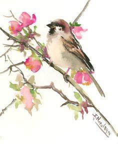 Sparrow And Spring Blossom art, 10 X 8 in, original watercolor painting sparrow art, sparrow painting, bird art, sparrows, yard birds,
