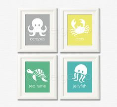 Teal Green Yellow Gray Nursery Decor - Ocean Life Art Print Set - Set of four 8x10 - Octopus Crab Sea Turtle Jellyfish - Kids Bathroom Decor