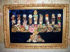 Amazing menorah made of junk vintage jewelry.