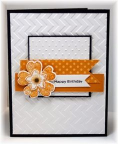 orange accents on white embossing