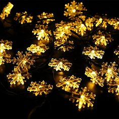 Cinya Christmas Lights LED Snowflakes Star Globe Lights Fairy String Holiday Lights 70leds 33ft for Xmas TreeBedroomHouseHardenPartyIndoors Warm White snowflakes -- This is an Amazon Affiliate link. To view further for this item, visit the image link.