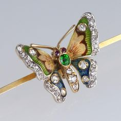 1ct Old Cut Diamond Emerald Ruby 18ct Gold Antique Enamel Butterfly Brooch c1905…