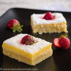 Low Carb Luscious Low-Carb Lavender Lemon Bars - Can omit the lavender if that's not your bag! *See variations and tips.Made in a 9x13 pan, If cutting 24 bars, 1g net carbs per bar  | Low-Carb, So Simple!