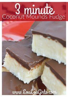3 Minute Coconut Mounds Fudge Recipe – Lou Lou Girls – Famous Last Words Coconut Recipes, Fudge Recipes, Candy Recipes, Sweet Recipes, Cookie Recipes, Dessert Recipes, Coconut Bars, Coconut Fudge Recipe Condensed Milk, Coconut Oil