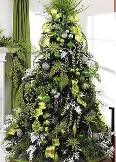Green and Silver Christmas tree . gonna have to go buy all new tree decor! Different Christmas Trees, Silver Christmas Tree, Beautiful Christmas Trees, Christmas Tree Themes, Noel Christmas, Green Christmas, Christmas Tree Decorations, Elegant Christmas, Victorian Christmas
