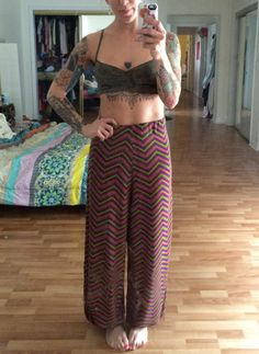Handmade Harem Pants fun 70s inspired knit by HappyYogiShop