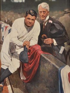 Baseball Art - Babe Ruth and Kenesaw Landis by Ron Stark
