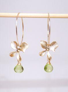 Peridot earrings, August birthstone earrings, Grade AAA peridot drop orchid 14K gold filled hoop earrings by JWjewelrybox on Etsy