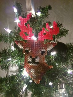 DIY perler beads deer christmas ornaments