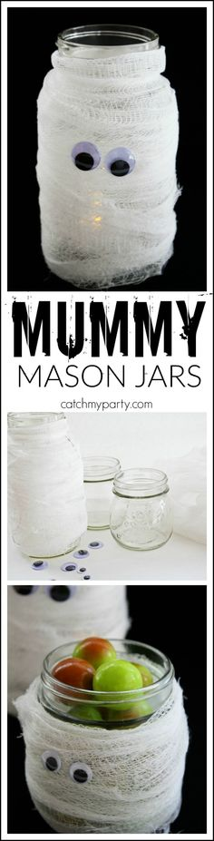 Use this Halloween Mummy Mason Jar DIY to light up your walk on Halloween! | CatchMyParty.com