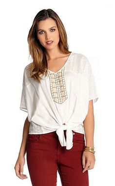 BOHO CHIC OFF WHITE CORONADO BEADED TIE FRONT TOP Karen_Kane #Boho #Chic #Off_White #Coronado  #Beaded #Tie_Front #Top #Made_in_the_USA #Fashion