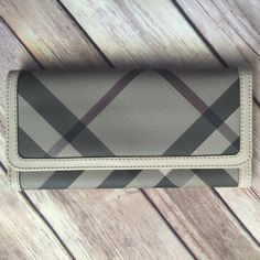 Burberry Smoked Check Continental Wallet Like new. Barely used. Burberry Bags Wallets