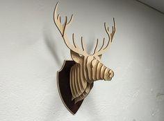 En bois cerf tête trophée bouleau bois cerf par FireFeatherDesign