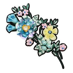 FRAMED FLOWER ROUND OR SQUARE BLUE VELVET PATCH EMBROIDERED IRON ON APPLIQUE