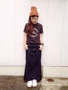 まる◎さんのデニムスカート「Lee [リー]LEE C LONG スカート」を使ったコーディネート