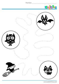actividades-repasar-halloween-5 Tracing Worksheets, Preschool Worksheets, Halloween 5, Pre School, Preschool Activities, Kindergarten, Classroom, Perception, School Stuff