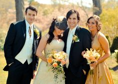 bride and groom and maid of honor and best man!