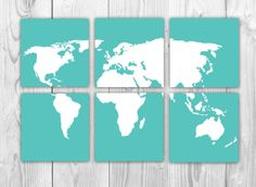 New to bysamantha on etsy world map poster sizes from 4x6 to world map 6 panels set of 6 prints aqua and white world map travel nursery decor gumiabroncs Image collections