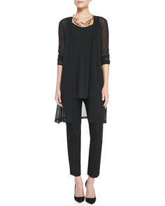 Gossamer Crepe Open Cardigan, Long Silk Jersey Tunic & Crepe Slim Ankle Pants  by Eileen Fisher at Neiman Marcus.