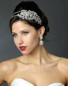 Bold Side Accent Rose Crystal Wedding Headband - Affordable Elegance Bridal -