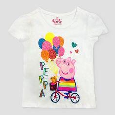 Toddler Girls' Peppa Pig 'Peppa On Bike' ITG T-Shirt - White