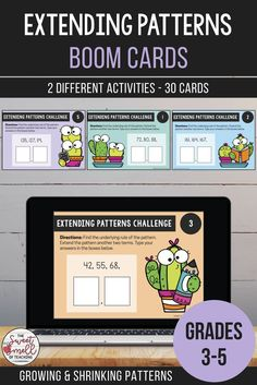 Develop your students' abilities to recognize rules and extend patterns with these digital Boom Cards. Students determine the rule and then type in the next two terms of the growing or shrinking number pattern. Technology Lessons, Computer Lessons, Computer Lab, Library Lessons, Math Lessons, Learning Resources, Teacher Resources, Classroom Activities, Primary Classroom