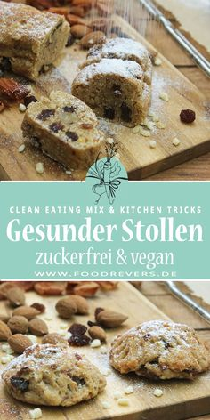 Stollen zuckerfrei und vegan mit Clean Eating Mini stollen sugar free and vegan with clean eating. A healthy recipe, baked quickly and easily. Christmas without sugar and a healthy diet are not diffic Clean Eating Desserts, Healthy Dessert Recipes, Health Desserts, Clean Recipes, Baby Food Recipes, Baking Recipes, Cake Recipes, Dessert Sans Gluten, Bon Dessert