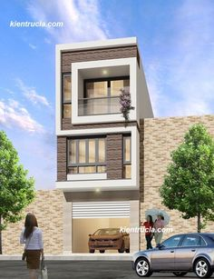 I'm looking for such narrow home design 3 Storey House Design, Bungalow House Design, House Front Design, Modern Small House Design, Modern Exterior House Designs, Narrow House Plans, Small Bungalow, Independent House, Model House Plan