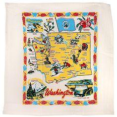 Amazon.com - Washington State Map Souvenir Dish Towel - Vintage Flour Sack Tea Towels