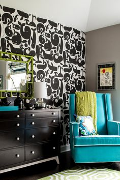 Shop the Look: Bright and Modern Black and White Nursery with Vibrant Pops of Color >> http://photos.hgtv.com/rooms/viewer/bedroom/black-and-white/bold-boy%27s-nursery-with-graphic-whale-wallpaper-%26-bright-accents?soc=pinterest